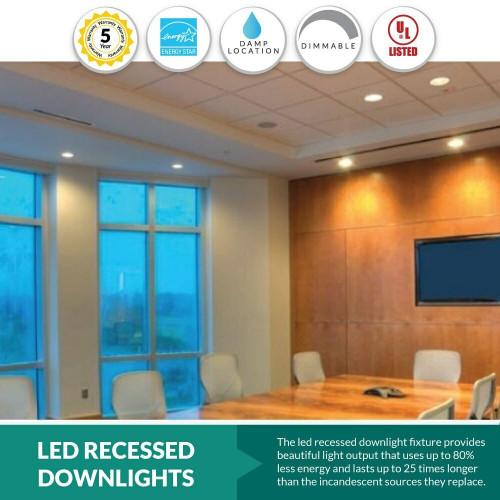 LED 6 Inch Recessed Lighting Retrofit Can Light Trim - 16W - 1400 Lumens - 3000K Soft White