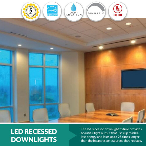 LED Recessed Lighting - 4000K Cool White Can Lights - 16W - 1400 Lumens - 6 Inch Retrofits