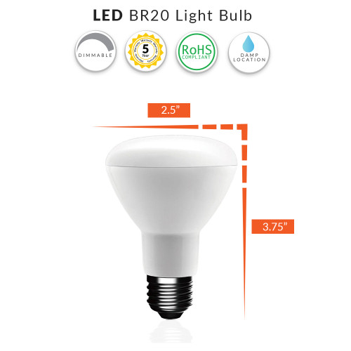 LED BR20 Light Bulb, 7 Watt Dimmable (50W Replacement)  - Choose Your Color Temperature