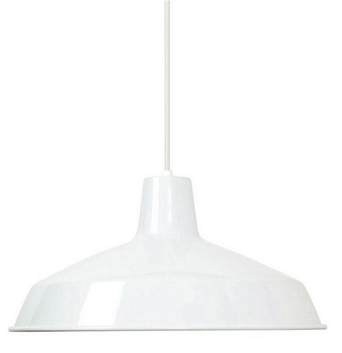 "White Industrial Warehouse Style Pendant - 16"" Diameter"