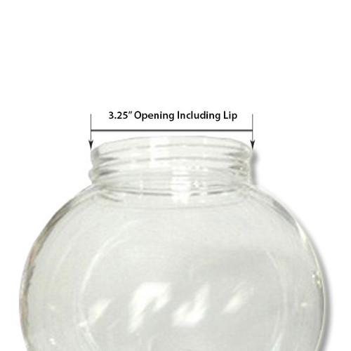 6 Inch Plastic Globe Threaded Lip Opening Clear Acrylic