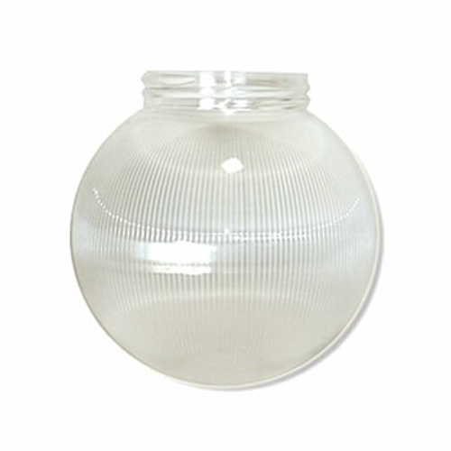 6 Inch Plastic Globe Threaded Lip Opening Clear Ribbed Acrylic