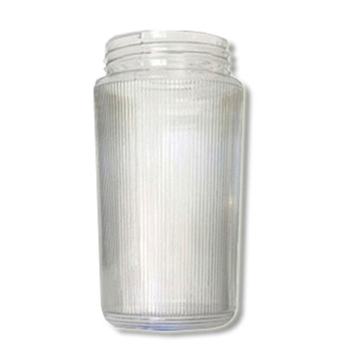 6 Inch Plastic Cylinder Threaded Lip Opening Clear Ribbed Acrylic