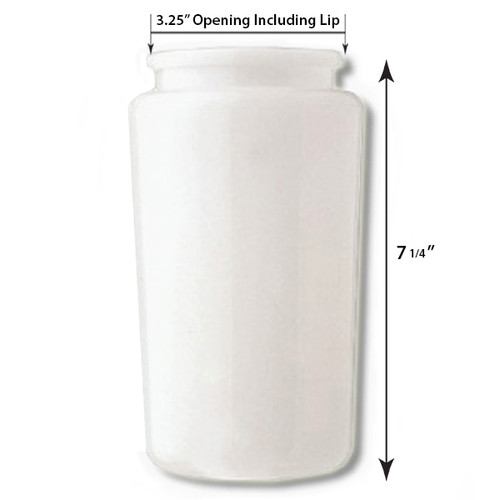 7 Inch Plastic Cylinder Plain Lip Opening White Opal Lexan