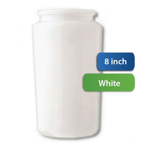 8 Inch Plastic Cylinder Plain Lip Opening White Opal Lexan