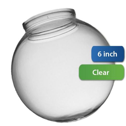 6 Inch Plastic Globe Plain Lip Opening Clear Acrylic