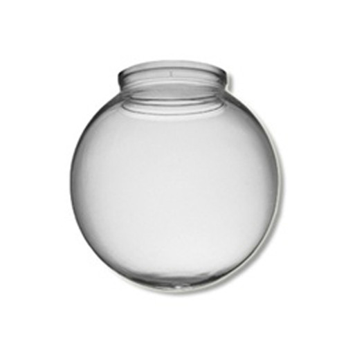 8 Inch Plastic Globe Plain Lip Opening Clear Acrylic