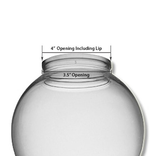 12 Inch Plastic Globe Plain Lip Opening Clear Acrylic