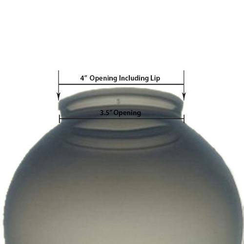 8 Inch Plastic Globe Plain Lip Opening Smoke Acrylic