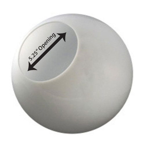14 Inch Plastic Globe Neckless Opening White Acrylic
