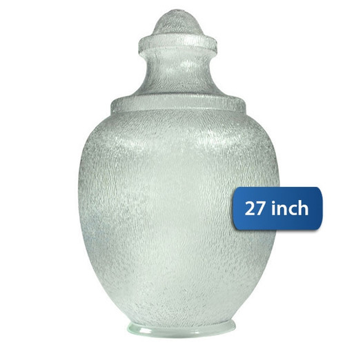 "Large Acorn Plastic Globe with 8"" Plain Lip Opening Clear Textured Polycarbonate- 27 inches"