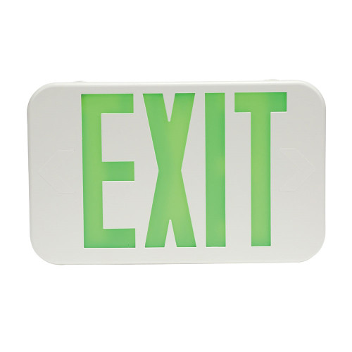 White Plastic Led Exit Sign With Green Lettering With Battery Back Up