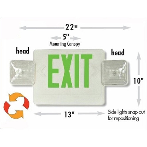 Led Combo Emergency Exit Light White Plastic With
