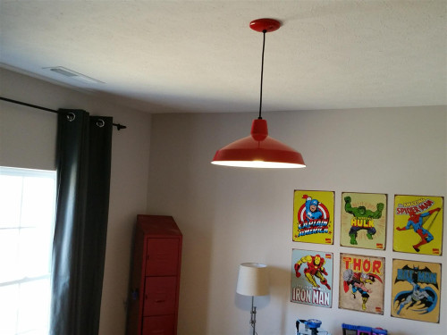 "Red Industrial Warehouse Style Pendant - 16"" Diameter"
