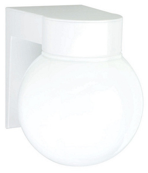 """1 Light - 8"""" - Utility, Wall Mount - With White Glass Globe"""
