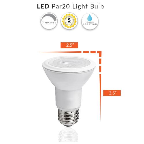 LED PAR20 Light Bulb, Dimmable (50W Replacement) Choose Your Color Temperature