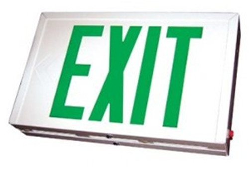 White LED Steel Housing Exit Sign w/ Battery Back Up - Green Lettering - With Battery Back-Up