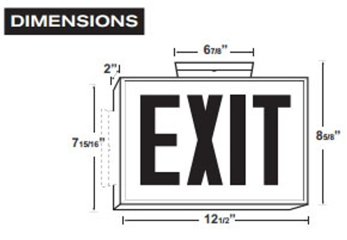 White LED Steel Housing Exit Sign w/ Battery Back Up - Red Lettering - With Battery Back-Up