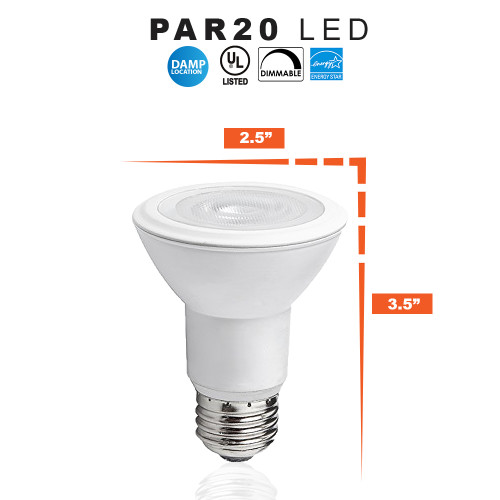 LED PAR20 8 Watt Dimmable (50W Replacement) PAR20 Light Bulb, 2700K - 120 Volt