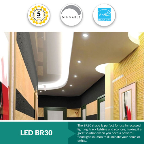 """LED BR30 Flood Bulb, Perfect Replacement For 65W-75W Recessed Can Light - <span style=""""color: red;""""> Choose Your Color Temperatures"""