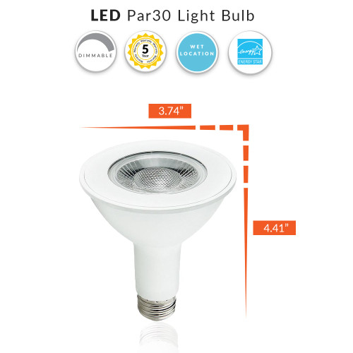 LED PAR30 Dimmable Flood Bulb, 9 Watt (75W Replacement) Soft White 3000K, 750 Lumens, 120 Volt