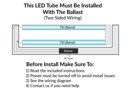 LED U Tube T8, Ballast Compatible, 12 Watt, 1800 Lumens, 5000K Daylight