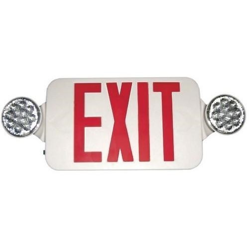 Exit Emergency Light Combo, White Sign with Red Letters - With 90 Minute Battery Back-Up