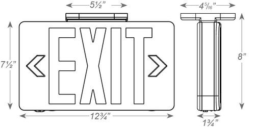 Smallest Compact LED Exit Sign - Choose White or Black Housing Color, with Red or Green Lettering, with or without Battery Back-Up
