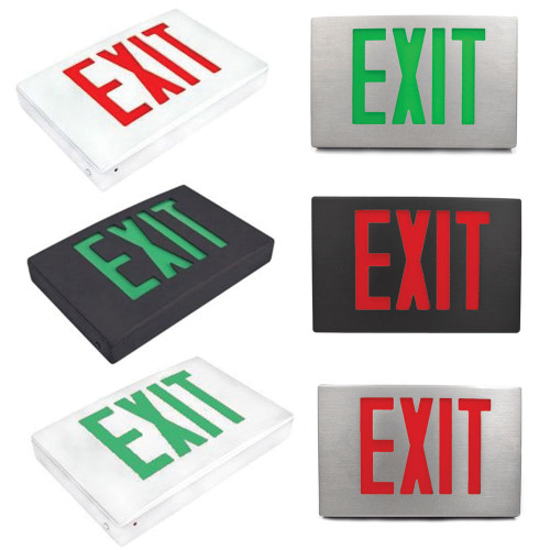 Universal LED Die-cast Aluminum Exit Sign with Red and Green Lettering - Choose Housing Color White, Black, or Aluminum - With Battery Back-Up
