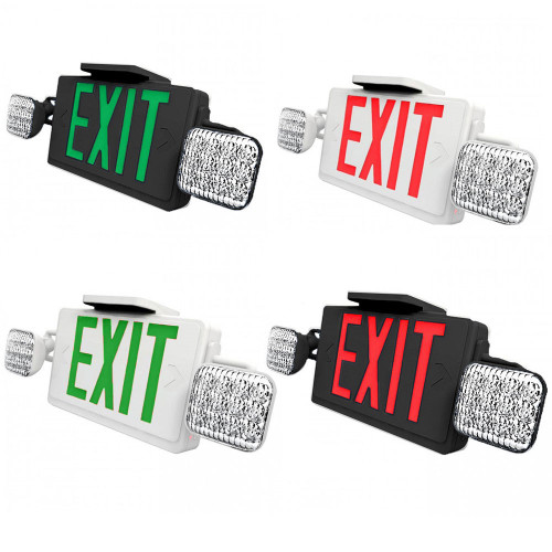 Combo LED Exit Sign And Emergency Light - Choose White or Black Housing Color, with Red or Green Lettering - With 90 Minute Battery Back-Up