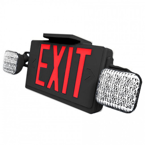 Combo LED Exit Sign And Emergency Light - Black Housing Color with Red Lettering - With 90 Minute Battery Back-Up