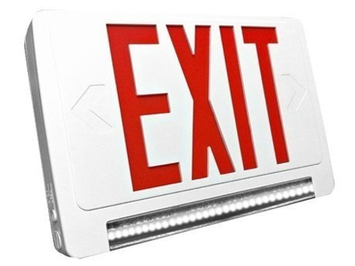 Standard Light pipe LED Exit & Emergency Combo - Red Lettering with White Housing Color - With 90 Minute Battery Back-Up