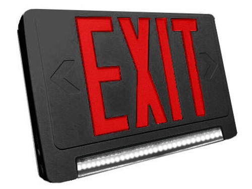 Standard Light pipe LED Exit & Emergency Combo - Red Lettering with Black Housing Color - With 90 Minute Battery Back-Up