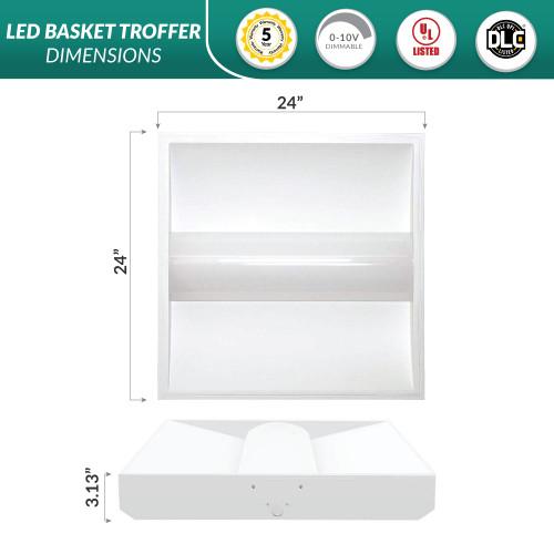 LED 2x2 Basket Troffer 33 Watt, 4000 Lumens, 3500K Neutral White Color Temperature
