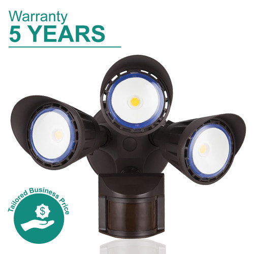 LED Bronze Security Lights for Wall with Motion Sensor, 3000K Soft White - Three Heads