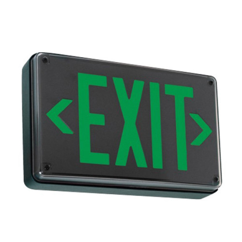 Smallest Compact LED Exit Sign Black Housing and Green Letter With No Battery Back-Up