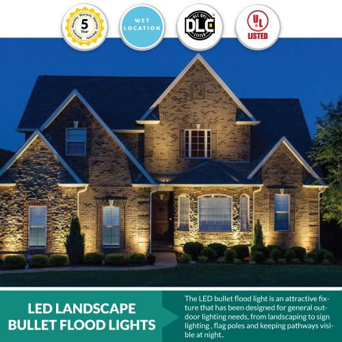 "42 Watt LED Landscape Bullet Flood Light Series 2, 4200Lumens, 1/2"" Knuckle mount, 5000K Cool White Color Temperature"