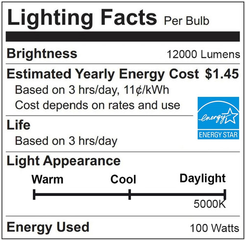 100 Watt LED Corn Bulb, High Output Retrofit for Shoebox or Parking Lot Fixtures -  5000K; Mogul Base; 100-277 volts