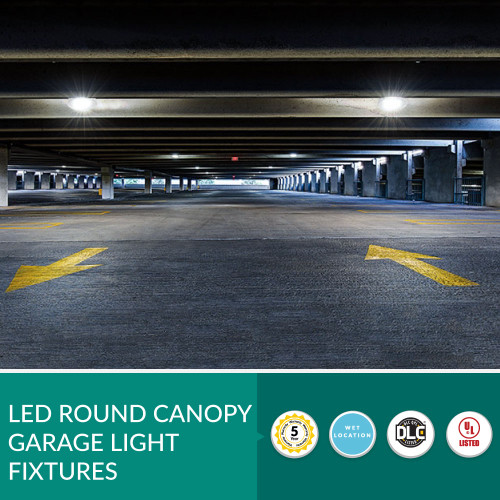 Round LED Garage, Shop or Warehouse Canopy Lights - Choose Your Wattage