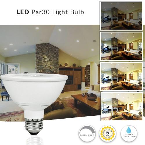 LED PAR30 Short Neck Light Bulb, 12 Watt Dimmable (75W Replacement) 4000K - 120 Volt