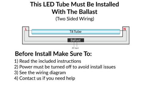 T8 LED Ballast Compatible 15W 4 FT Retrofit Tube - Bi-Pin Base - No Rewiring - 5000K Daylight