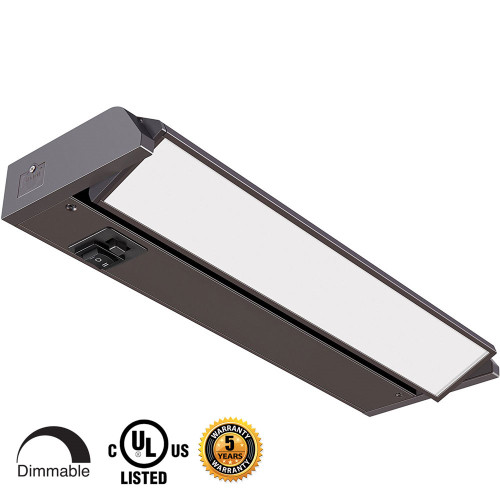 12 inch LED Undercabinet Lights - 5 Watt, Bronze, with swivel lens, changeable color temperature and hi-low switch