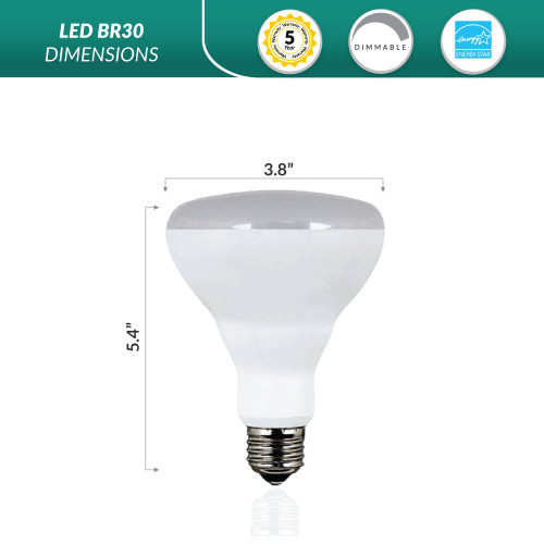 LED BR30 Flood Bulb, Perfect Replacement For 65W-75W Recessed Can Light - Warm 2700K Color