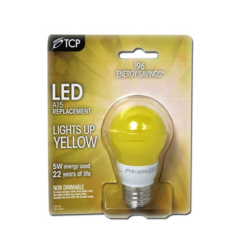 LED 5 Watt Non-Dimmable (40W Replacement) A15 Light Bulb, Yellow Bug Light