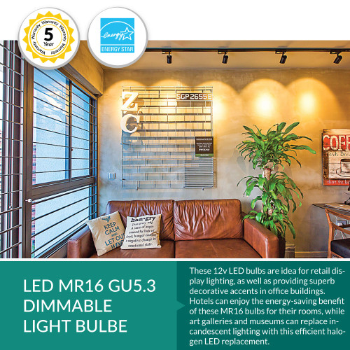 7 Watt LED MR16 Light Bulb - 12 Volt,  Dimmable - Choose Your Wattage and Color Temperature