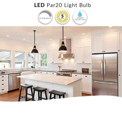 LED PAR20 Dimmable, 8 Watt (50W Replacement) PAR20 Light Bulb, 4100K - 120 Volt