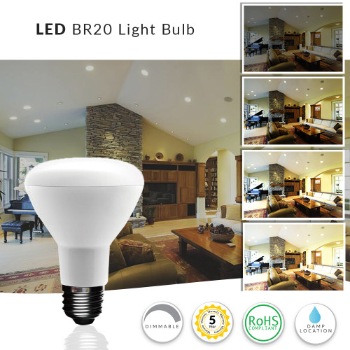 LED BR20 Light Bulb, 7 Watt Dimmable (50W Replacement) 2700K Warm White