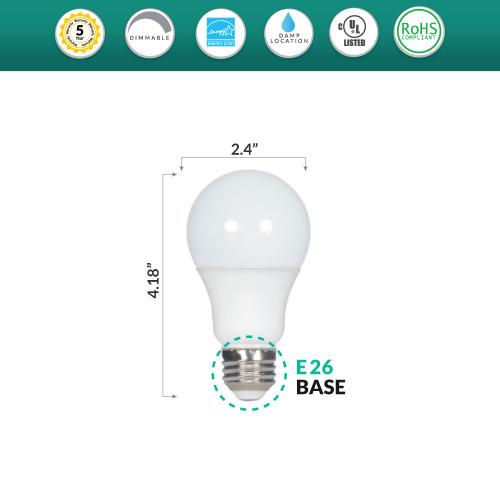 LED 7 Watt Dimmable (40W Replacement) A19 Light Bulb, 3000K - 120 Volt 891