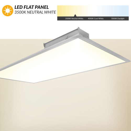 LED Flat Panel 2X4  - 3500K Neutral White - Dimmable - For Standard Drop Ceilings
