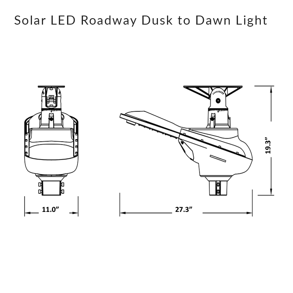 Solar LED Roadways Dusk to Dawn Light - 80W 13,600 Lumens - 5000K Daylight Temperature - EXTRA LARGE